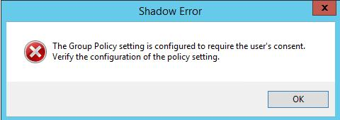 The Group Policy setting is configured to require the user's consent