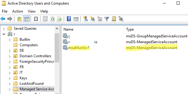 Managed Service Accounts in Active Directory