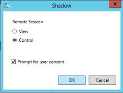 Shadow remotesession Windows 2012 R2