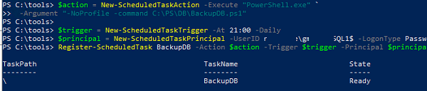 using gMSA for scheduled task (powershell way)