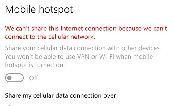 We can't share this Internet connection because we can't connect to the cellular network