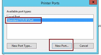 Add Standard TCP/IP Port