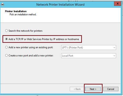 Ajouter une imprimante de services Web / TCP / IP par adresse IP ou nom d'hôte