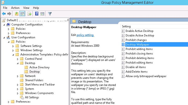 Desktop Settings in GPO editor