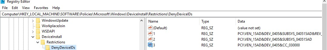 Registry deny DeviceInstall -> Restrictions -> DenyDeviceIDs