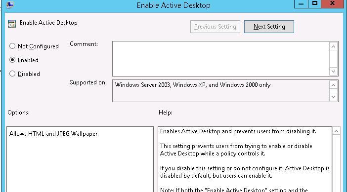Enable Active Desktop policy