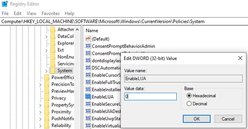 disable user account control via EnableLUA registry parameter