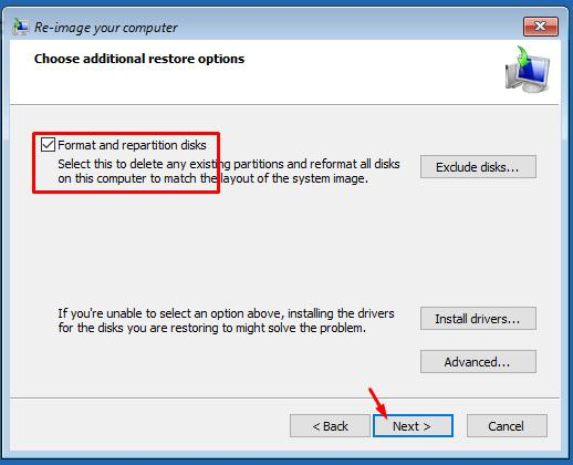 Format and repartition disks