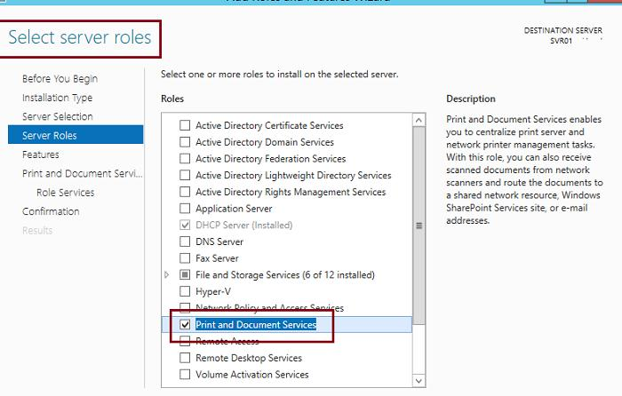 Install Print and Document Services Role on Windows Server 2012 R2