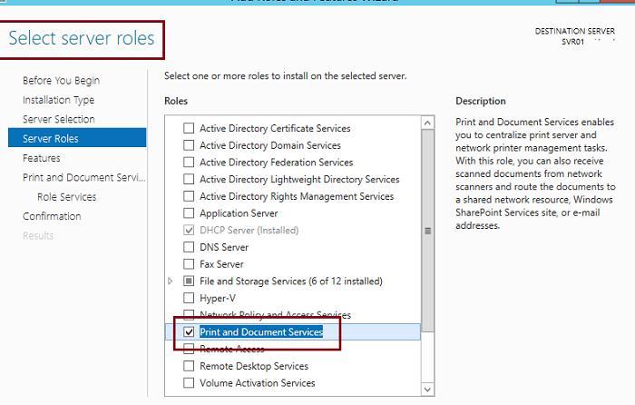 Installer le rôle Print Services and Document Services sur Windows Server 2012 R2
