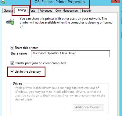 Share printer and List in the directory