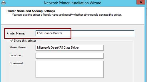 Printer and Share Name