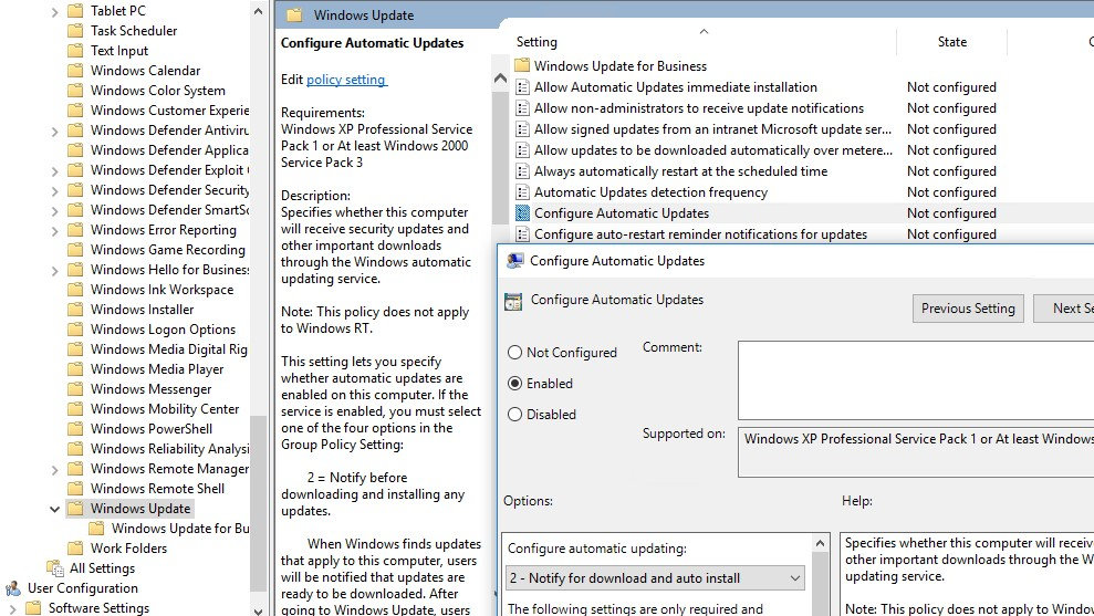 configure automatic updates disabled windows 10