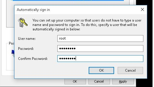 Windows 10: Automatically sign in