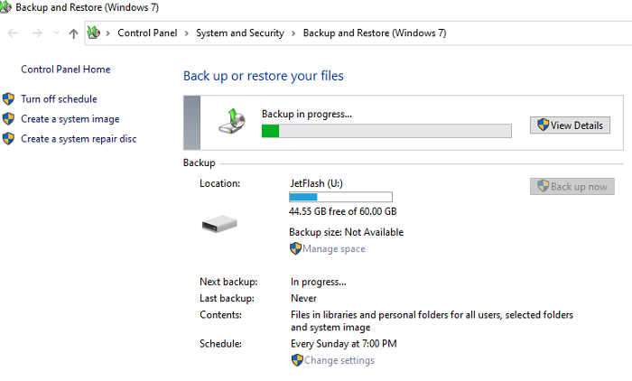 check the backup state on Windows 10