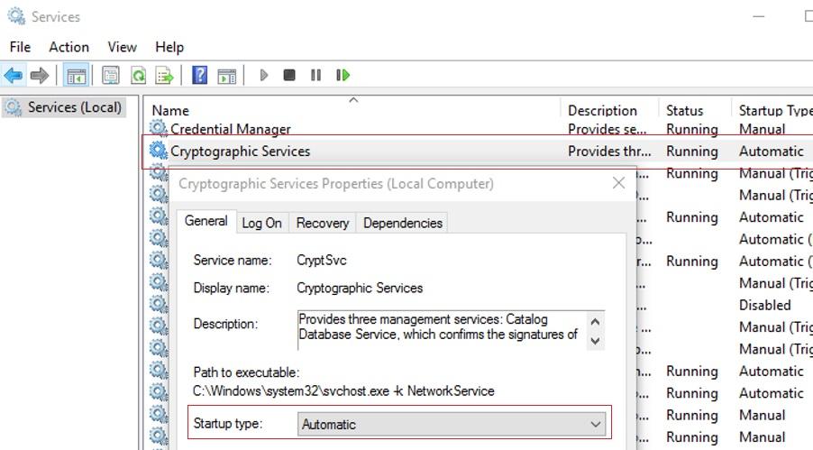 configure cryptsvc service to startup automatically