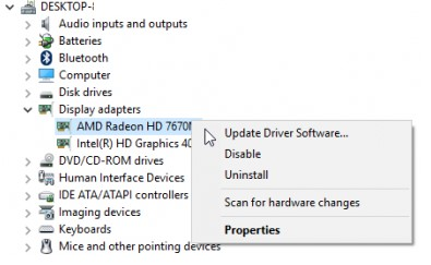 display adapter card driver properties