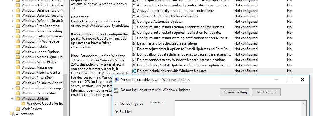 Do not include drivers with Windows Update - group policy