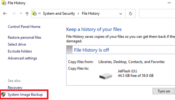 Open the System Image Backup tool on Windows 10