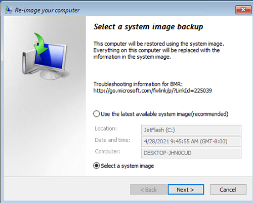 re-image your computer using system image backup