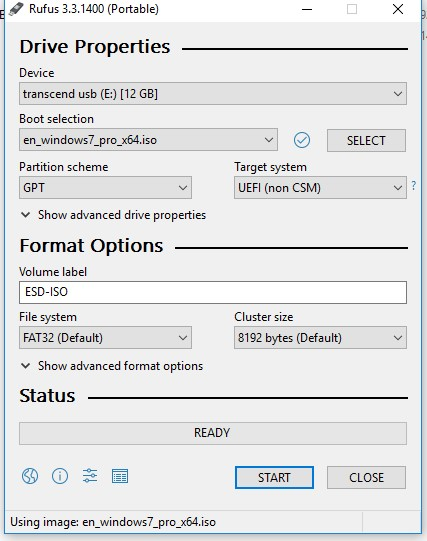 rufus 3.0 create uefi gpt usb boot stick with windows7