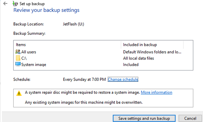 schedule and run the system image backup on windows 10