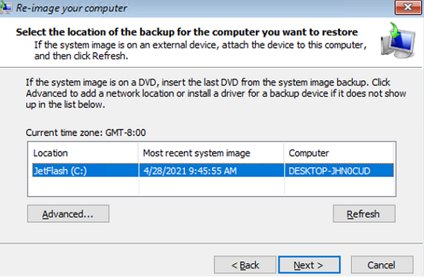 select image backup to restore
