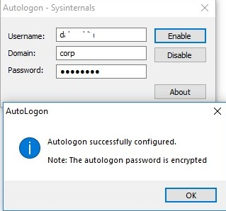 sysinternals autologon succesfully configured