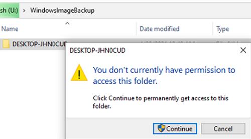 uac prompt whe accessing WindowsImageBackup folder