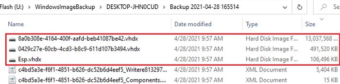 vhdx files with hard disk images on WindowsImageBackup folder
