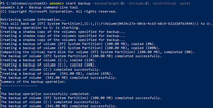 wbAdmin start backup from the command prompt