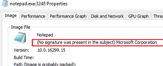 windows native exe processes with the caption No signature was present on the subject Microsoft Corporation