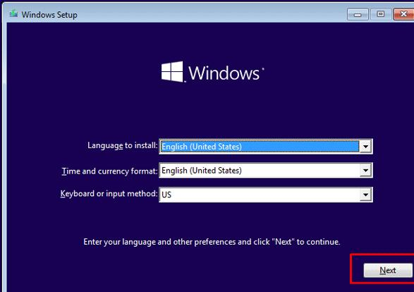 boot from windows 10 install disk