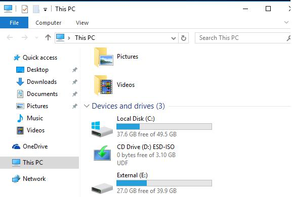 windows 10 external disk