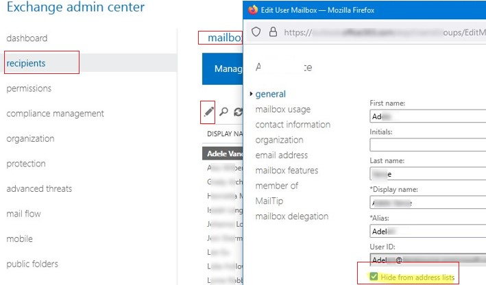 Exchange Admin Center - Hide user or group from address list