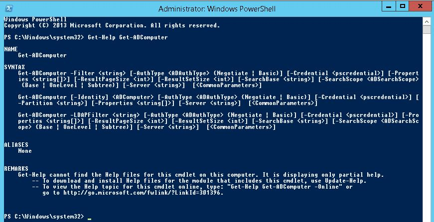 Get-ADComputer PowerShell cmdlet
