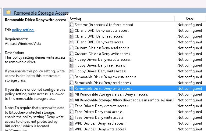 USB Removable Disk: Deny write access