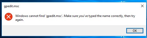 windows cannot find gpedit.msc. make sure