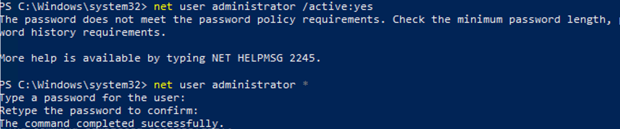 can't enable the built-in administrator - The password does not meet the password policy requirements