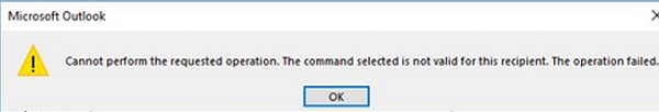 expand a distribution list in Outlook - Cannot perform the requested operation. The command selected is not valid for this recipient