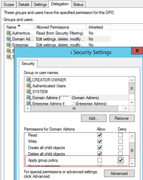 deny apply group policy to admins