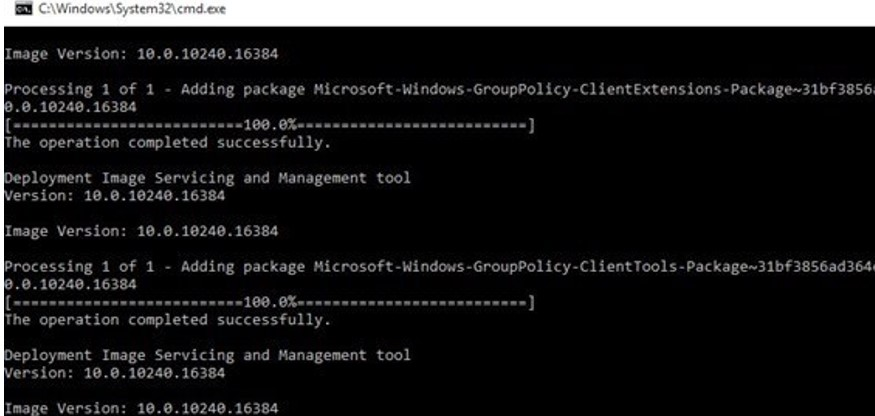 dism install package Microsoft-Windows-GroupPolicy-ClientTools-Package