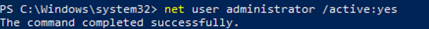 enable built-in admin on windows 10 using cmd: net user administrator /active:yes