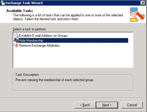 Exchange 2003 hide group membership