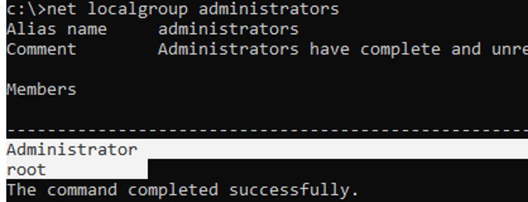 net localgroup administrators - list members of a Windows group using cmd.