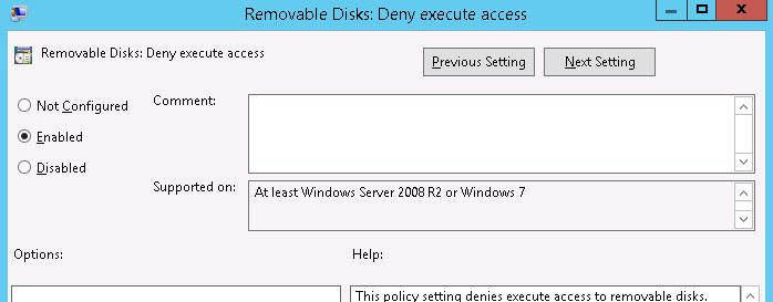 Removable Disks: Deny execute access