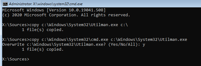 replace utilman with cmd on windows