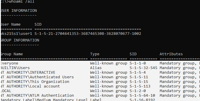 whoami /all - get list of local groups a user is a member of