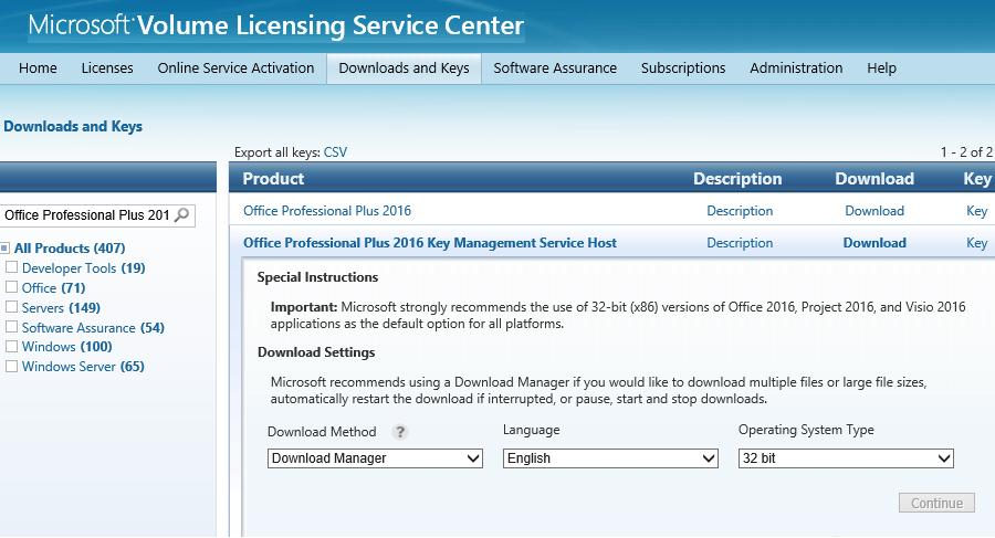 Microsoft Volume Licensing Service Center (VLSC) website