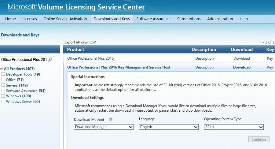 Microsoft Volume Licensing Service Center (VLSC) website
